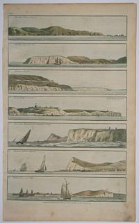 1. The Start Point N.E. b N. 2. The Bolt Head W.N.W. 3. Dunnose, W. b N. 4. Dover Castle, N.E. ½ N. 5. The South Foreland, and Shakespears Cliff. 6. Entrance to Dover Harbour. 7. Calais Town and Cliff.