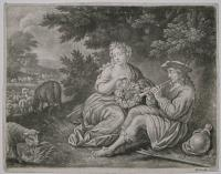 [Man, woman and sheep in a landscape.]