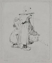[Two young servant-girls; one balancing two baskets on her shoulders.]