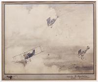 [World War I Aeroplanes: two RAF single-seater Scout aircraft attacking a larger German two-seater fighter.]