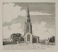 The East Prospect of the Church and Steeple of Kettering with Mr. Sayer's House to the South.