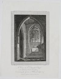 A View of St Edmund's Chapel, in the Church of East Dereham, Containing the Grave of William Cowper Esq