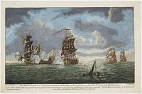 The Monmouth of 64 Guns taking the Foudroyant a French Man of War of 84 Guns, on the 28th of Feb.y 1758 in the Mediterranean