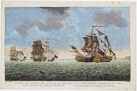 The Gallant Action off the Isle of Man where the brave Cap.t Elliott defeated and took the Marshal Belleisle, Commanded by the famous Thurot and two other French Ships of War, the 28th of Feb.y 1760.