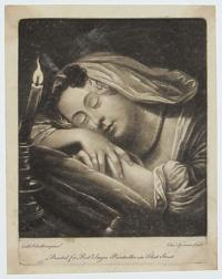 [Woman asleep beside a candle.]