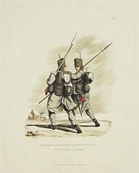 Soldiers in the 1.st. Reg.t. of Foot Guards, in Marching Order.