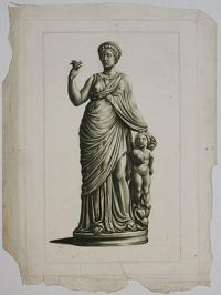 [Roman statue said to be the Empress Matilda, with child and dolphin]