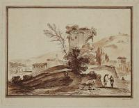 [Landscape with two figures conversing]