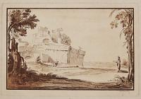 [Landscape with man on right drawing a ruin]