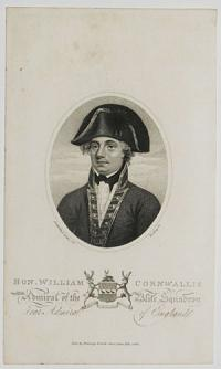 Hon. William Cornwallis. Admiral of the Blue Squadron, rear Admiral of England.
