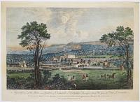A General View of the House and Gardens of Chatsworth in Derbyshire, a Beautiful Seat of His Grace the Duke of Devonshire.  Vue Generale de la Maison & Jadin Magnifique de Chatsworth, dans le Comté de Derby, appartment a Monseig.r le Duc de Devonshire.