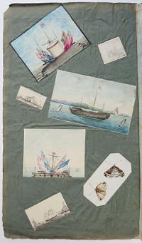 [Collection of naval watercolours, drawings and manuscript and printed material, including two drawings of the Battle of Trafalgar]