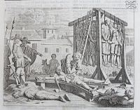 [Ceylonese rebels being hung, drawn and quartered.]