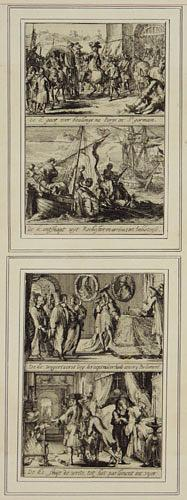 [James II in his palace with parliament entering; revoking his decision to form a parliament; arriving in Ambleteuse by boat; and arriving in St Germain-en-Laye]