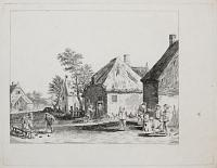 [Peasants playing bowls outside a village inn]