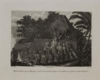 Representation of an offering to Capt.n Cook and his officers at Owyhee one of the Sandwich Islands