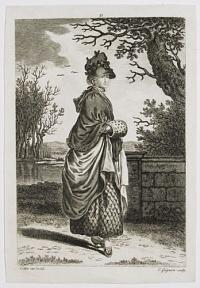 {Woman in winter dress, with muff.]