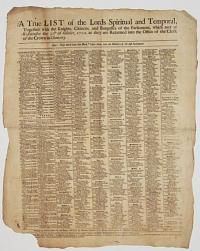 [Members of Parliament for 1702] A True List of the Lords Spiritual and Temporal,