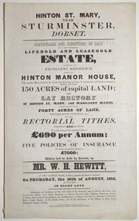 [Land auction catalogue.] Hinton St Mary, near Sturminster, Dorset.
