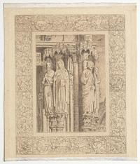 [Four statues of saints in the Great North Porch of Chartres Cathedral.]