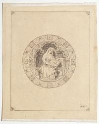 [Depiction of a female saint on a shield.]