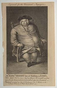Mr. Edw.d Bright late of Maldon in Essex. Who died Nov:r 10.1750, Aged 29 Years. He weigh'd 43 Stone & ½ (14tt to ye Stone) which is, 5 hundred, 1 quarter, 21 pound._