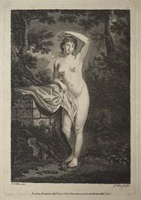 [A female nude leaning on a wall in a woodland setting.]