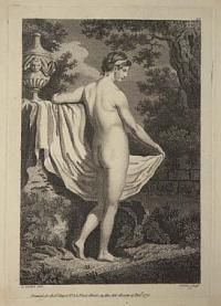 [A female nude leaning on a wall with a vase.]