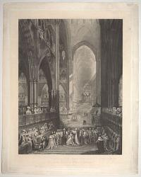 The interior of Westminster Abbey during the Coronation of Her most Gracious Majesty Victoria, June 28th 1838.