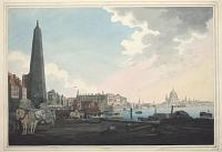 [Somerset House and St Paul's Cathedral from the North Bank of the Thames.]