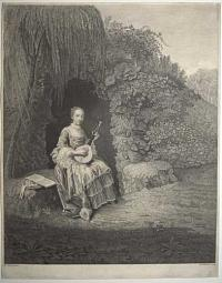 [A woman playing a lute at the entrance of a grotto.]