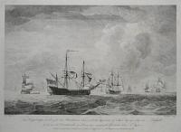The King George disabled, and other Privateers in chase, with the Appearance of His Majesty's Ship the Russell at the time the Dartmouth was blown up, engaging the Gloriosa Octr 9th 1748.