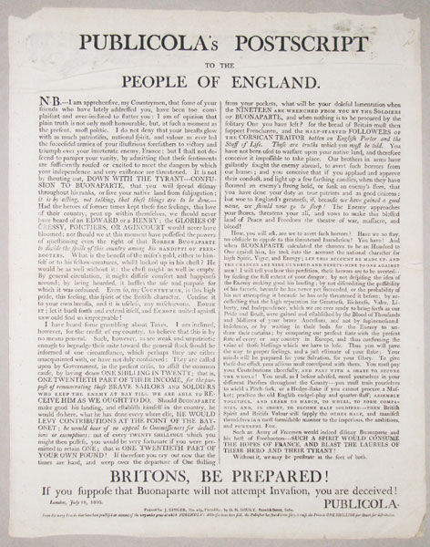 Publicola's Postscript to the People of England.