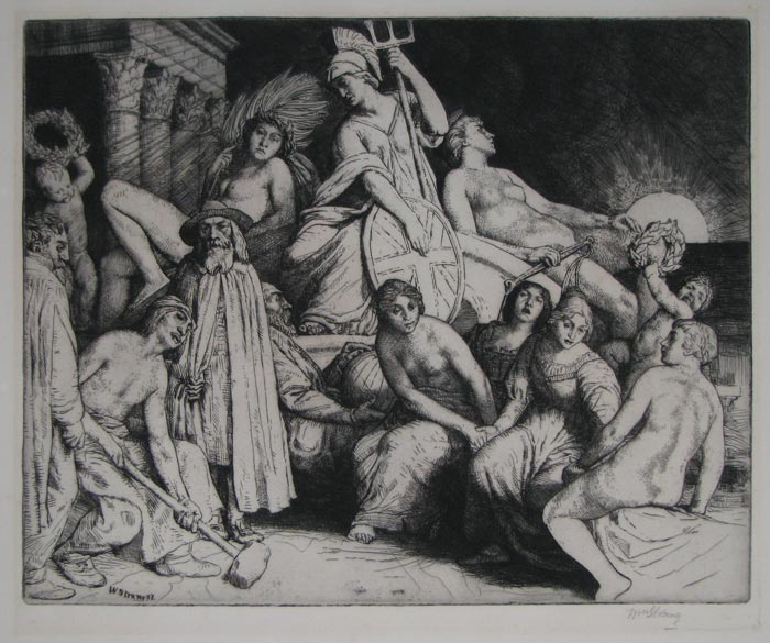 [A group of figures arranged around a statue of Britannia.]