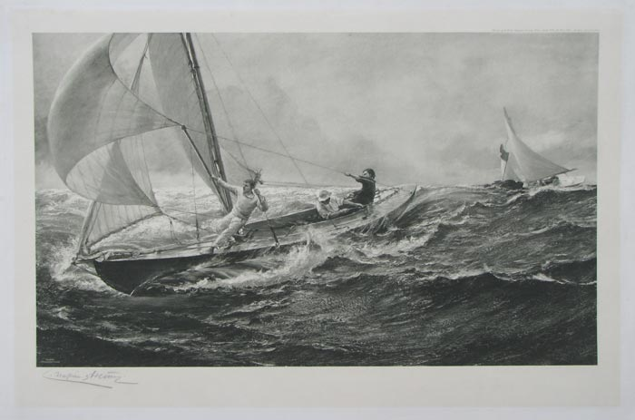 [Racing yacht in high seas.]