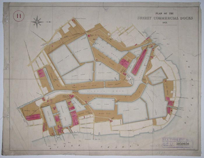 Plan of the Surrey Commercial  Docks 1871.