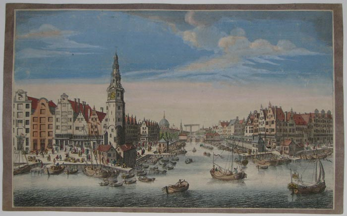 A View of part of Amsterdam from the Harbour Y, Shewing The Herring Packers Tower, the Sluice of Haarlem, & the New Fishmarket [verso].