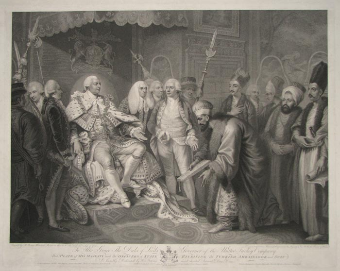 To His Grace The Duke of Leeds, Governor of the United Turkish Company  This Plate of His Majesty and the Officers of State Receiving The Turkish Ambassador and Suit
