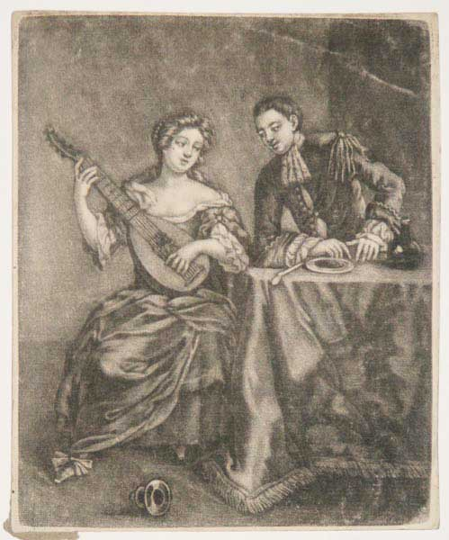 [A lady playing a guitar, a gentleman seated at table to right.]