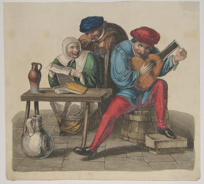 [A man tuning a lute or guitar.]