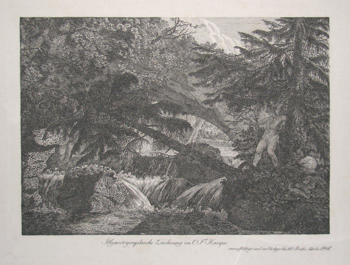 [Man attempting to cross fast flowing river using a fallen tree.]