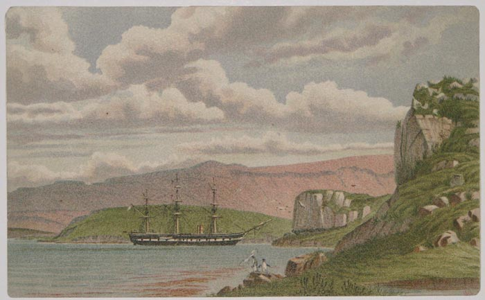 [H.M.S. Challenger in Betsy Cove, Kerguelen-Land.]
