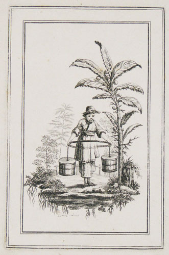 [Chinoiserie; a man carrying water in two buckets in a landscape.]