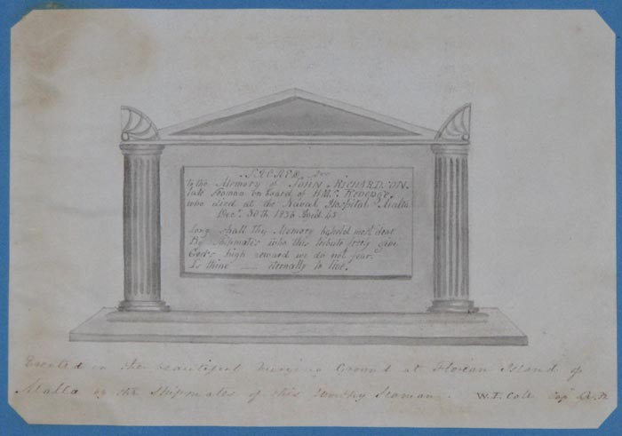 [Memorial] Sacred. To the Memory of John Richardson. late seaman on board of H.M.S. Revenge. who died at the Naval Hospital Malta Dec. 30th 1836 Aged 45.
