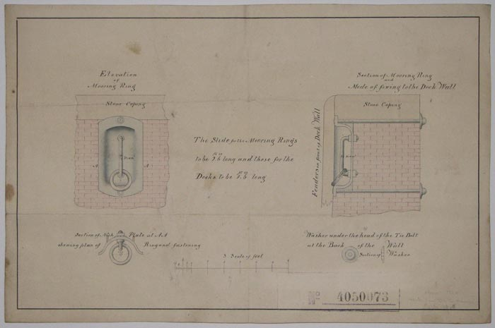 [Elevation and section of Mooring Ring.]