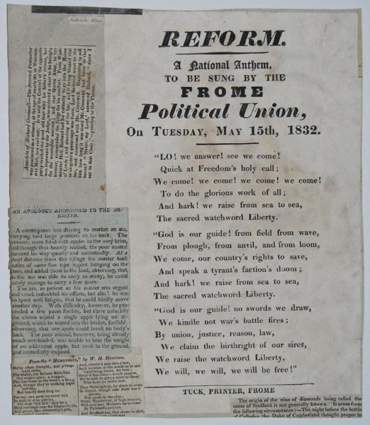 Reform. A National Anthem, to be sung by the Frome Political Union, On Tuesday, May 15th, 1832.