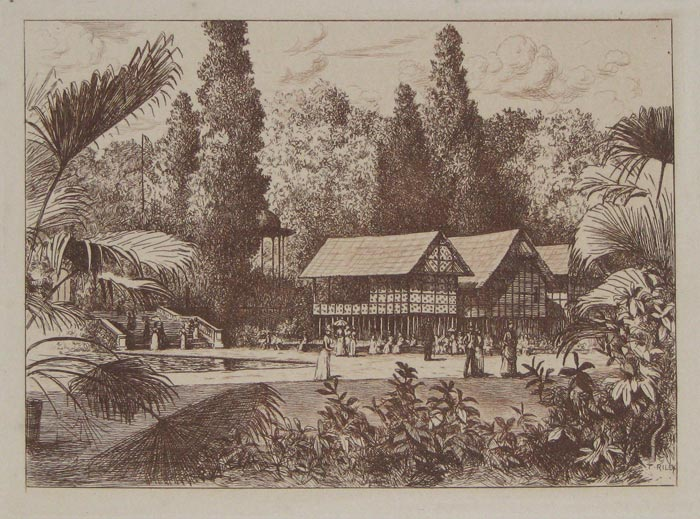 [The Upper Gardens, with the Malay House.]