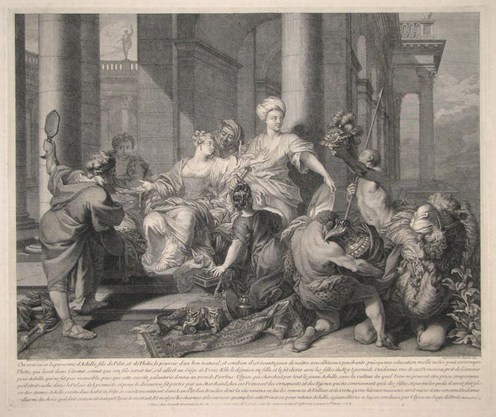 [Achilles and the daughters of King Lykodemes looking at the gifts sent by Ulysses.]