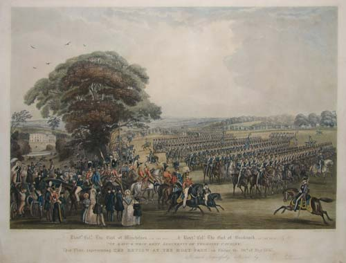 To Lieutt. Coll. The Earl of Winchelsea (of the east) ____& Lieutt. Coll. The Earl of Brecknkock (of the West) & to The East and West Kent Regiments of Yeomanry Cavalry,  This Plate, representing The Review At the Moat Park, on Friday the 26th May 1837.