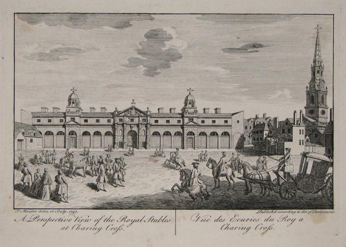 A Perspective View of the Royal Stables at Charing Cross.